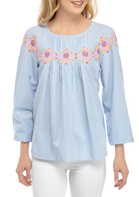 Crown & Ivy™ Womens Neon Emroidery Blouse