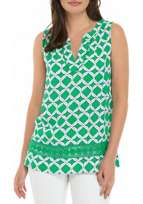 Crown & Ivy™ Womens Sleeves Crochet Peasant Print