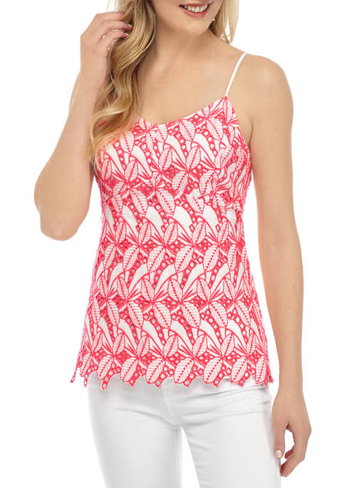 Crown & Ivy™ Womens Eyelet Tank Top