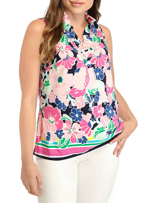 Crown & Ivy™ Womens Sleeveless Ruffle V Neck