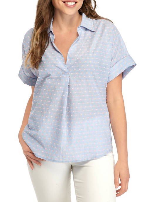 Crown & Ivy™ Womens Short Sleeve Dolman Popover
