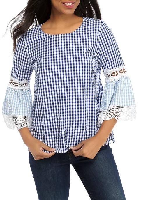 Womens 3/4 Bell Sleeve Crochet Top