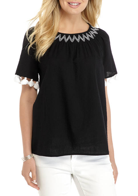 Crown & Ivy™ Womens Smock Neck Tassel Top