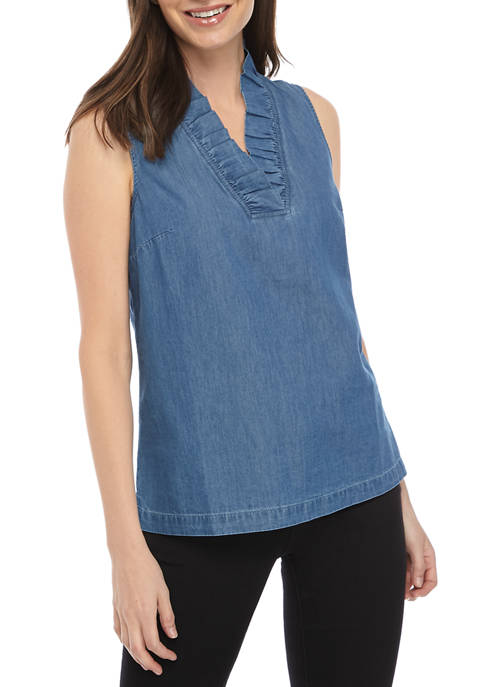 Crown & Ivy™ Womens Sleeveless Ruffle Neck Yarn