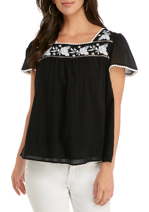 Crown & Ivy™ Womens Short Sleeve Embroidered Yoke