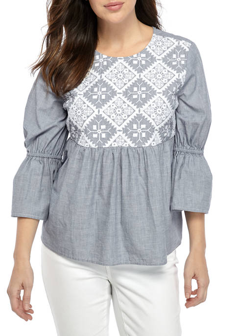 Crown & Ivy™ Womens 3/4 Bell Sleeve Top