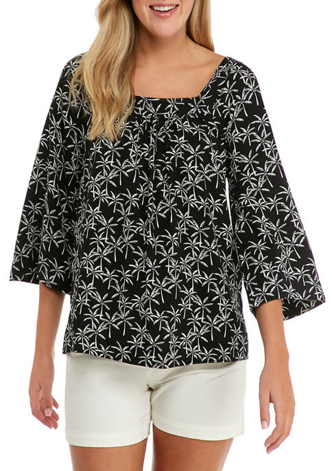Crown & Ivy™ Womens Square Neck Printed Blouse