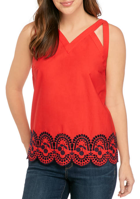 Crown & Ivy™ Sleeveless Embroidered V-Neck Tank