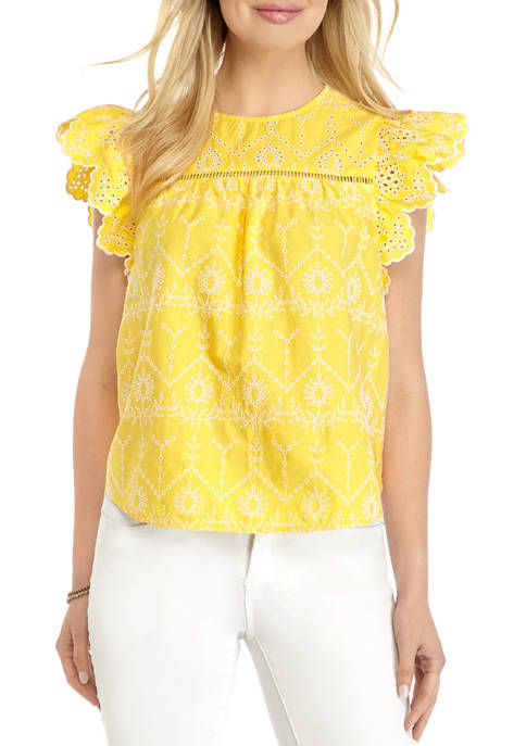 Crown & Ivy™ Womens Flutter Sleeve Embroidered Eyelet