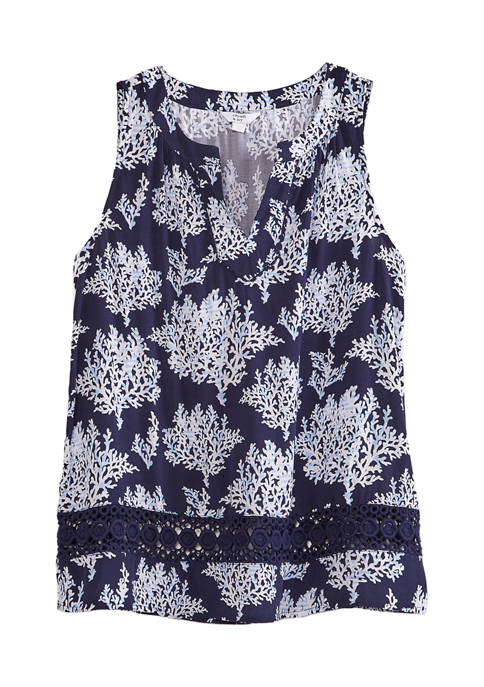 Crown & Ivy™ Womens Sleeveless Crochet Printed Peasant