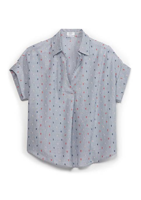 Crown & Ivy™ Short Sleeve Dolman Popover Top