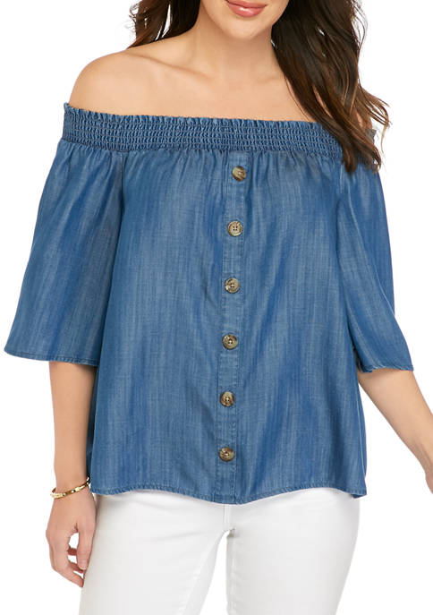 Crown & Ivy™ Womens Flutter Sleeve Off the