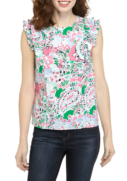 Crown & Ivy™ Womens Short Sleeve Ruffle Tie
