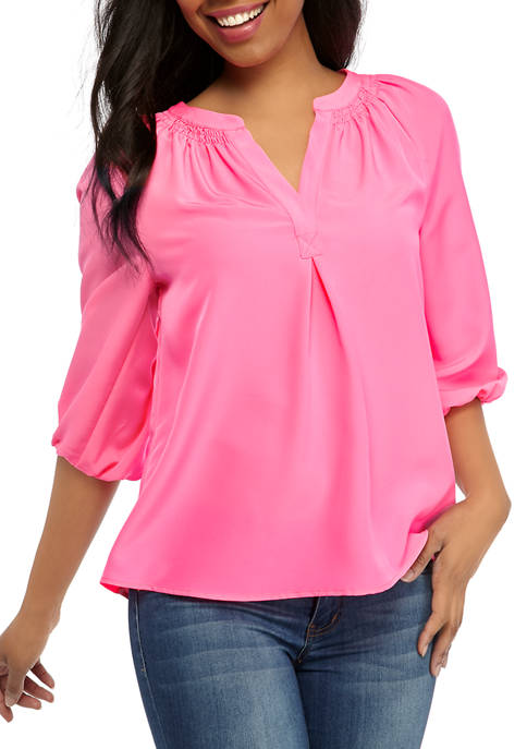 Crown & Ivy™ Womens Neon Peasant Blouse