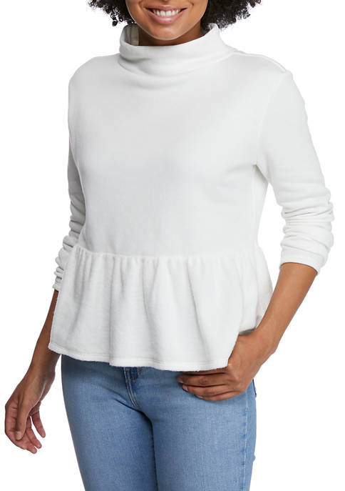 Crown & Ivy™ Petite Long Sleeve Peplum Top