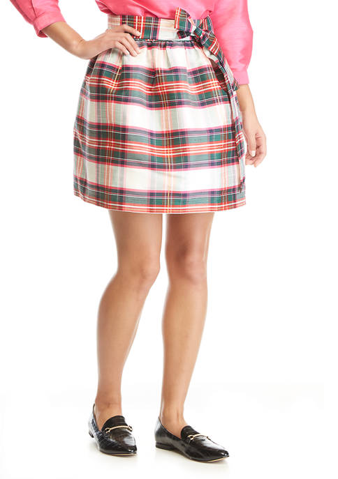 Petite Plaid Skirt with Bow