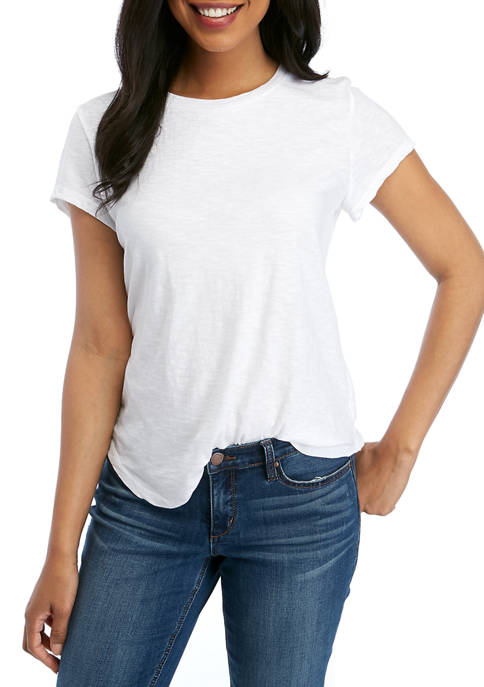 Petite Crew Neck Short Sleeve Top