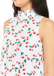 Petite Sleeveless Smocked Printed Dress
