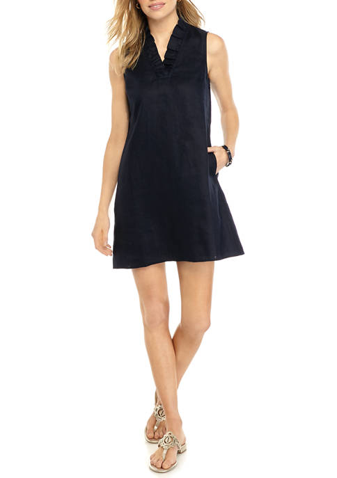 Crown & Ivy™ Petite Sleeveless Ruffle V-Neck Dress