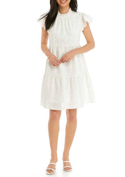 Crown & Ivy™ Petite Tiered Flutter Sleeve Dress
