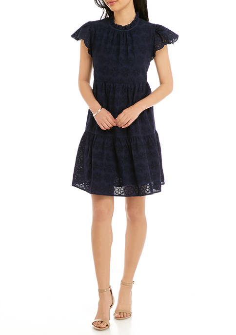 Crown & Ivy™ Petite Tiered Flutter Sleeve Dress