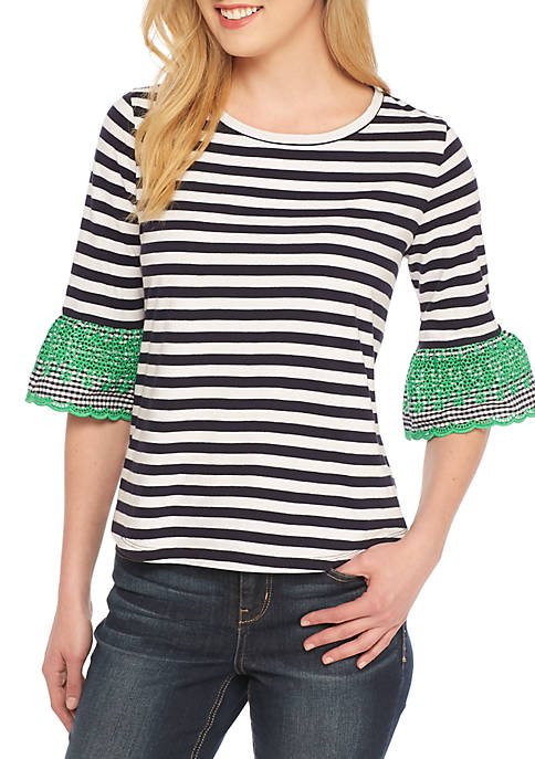Crown & Ivy™ Petite Stripe Embellished Flare Elbow