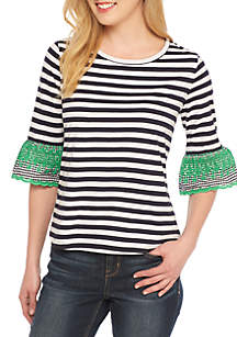 Petite Stripe Embellished Flare Elbow Sleeve Top
