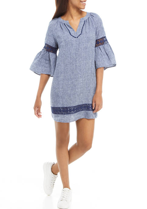 Crown & Ivy™ Petite 3/4 Sleeve Crochet Peasant