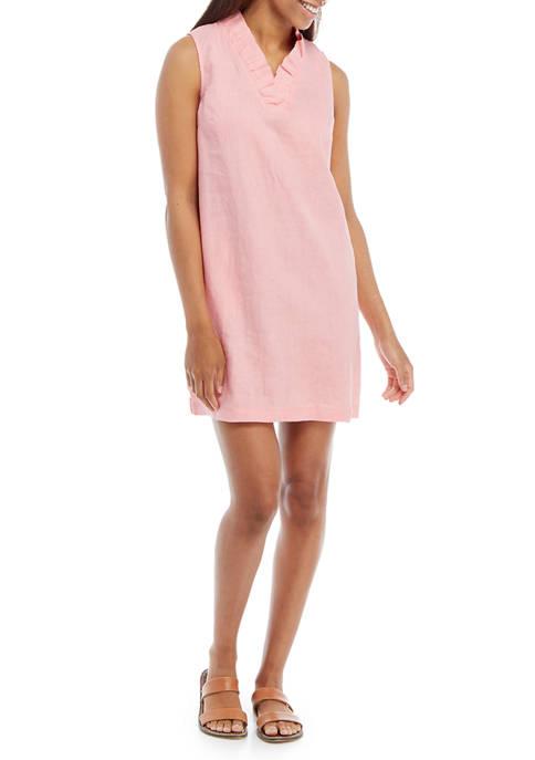 Crown & Ivy™ Petite Linen Ruffle Neck Dress