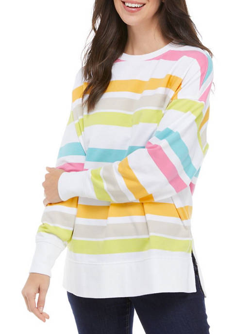 Crown & Ivy™ Petite Long Sleeve Striped Sweeper