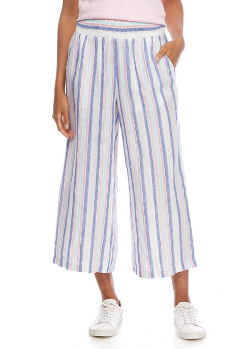 Crown & Ivy™ Petite Striped Smocked Pants