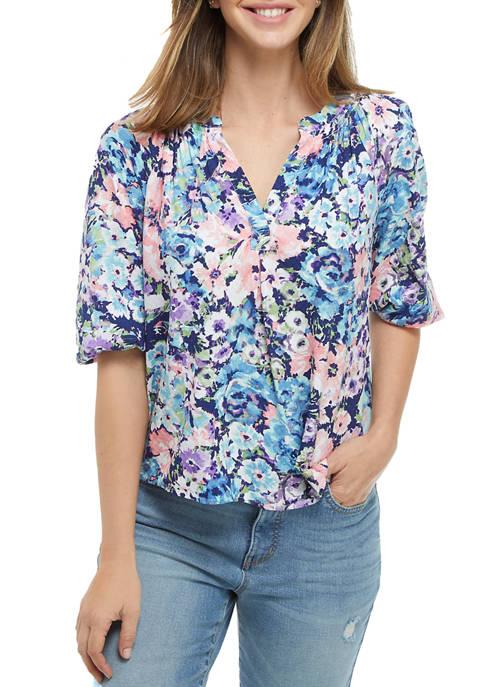 Crown & Ivy™ Petite Elbow Blouson Sleeve Printed