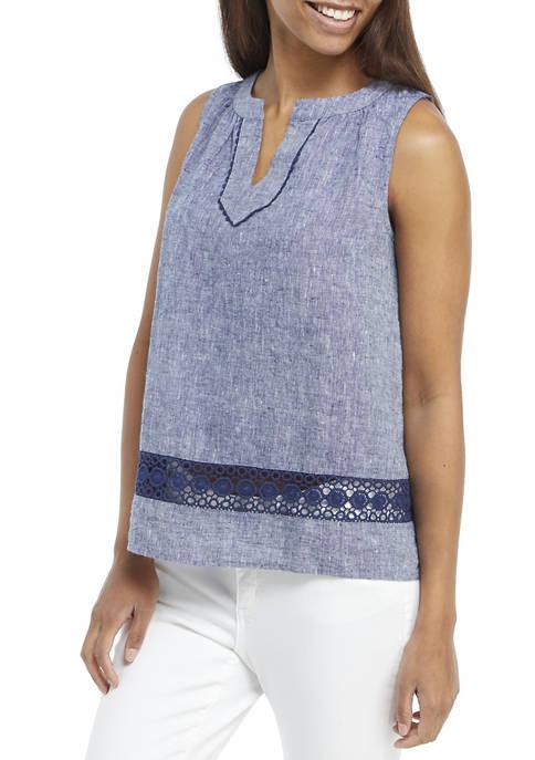 Crown & Ivy™ Petite Sleeveless Crochet Peasant Top