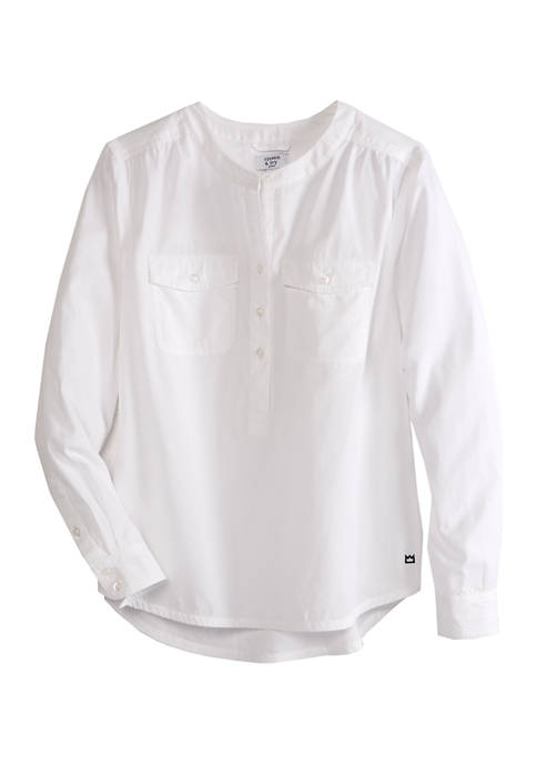 Crown & Ivy™ Petite Long Sleeve Popover Shirt