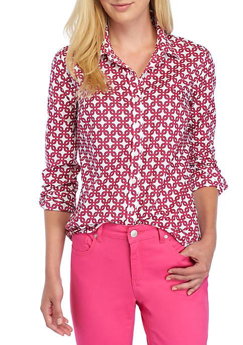 Crown & Ivy™ Petite Links Print Shirt