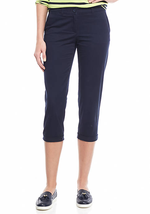 Petite Size Solid Casual Crop Pants
