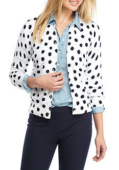 Crown & Ivy™ Petite Print Cardigan With Water Dots