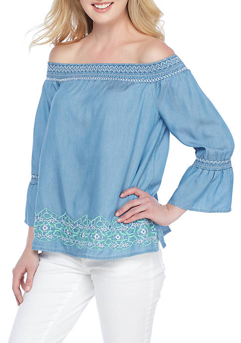 Crown & Ivy™ Petite Off Shoulder Embroidered Top
