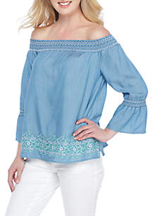 Petite Off Shoulder Embroidered Top