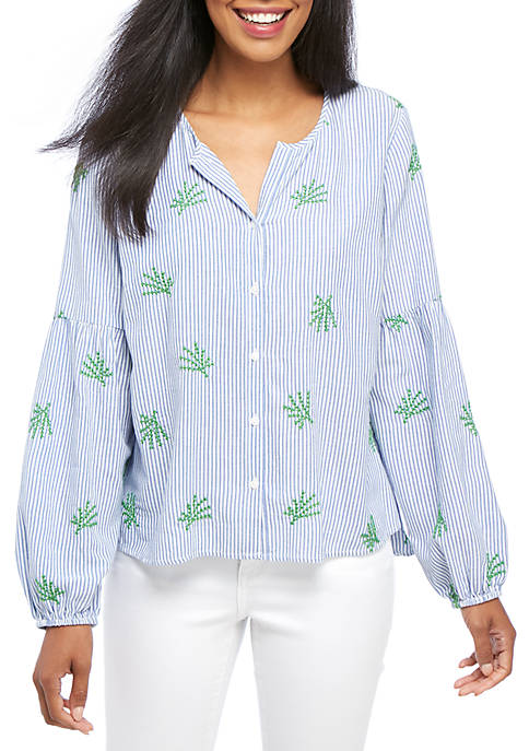 Crown & Ivy™ Petite Striped Button-Front Peasant Top