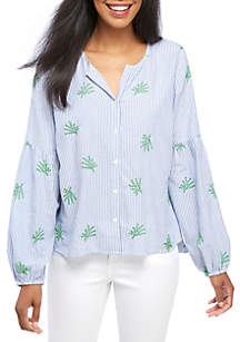 Petite Striped Button-Front Peasant Top