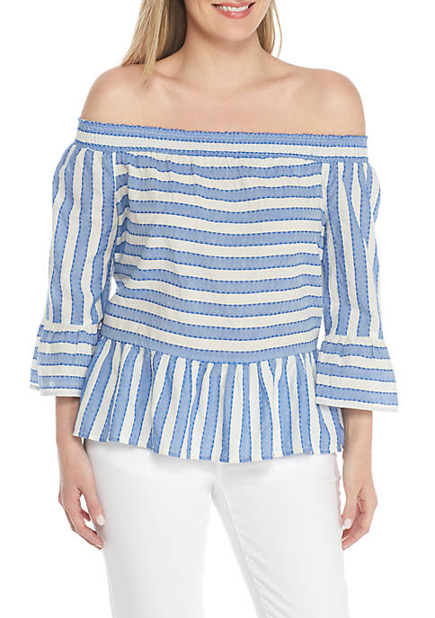 Crown & Ivy™ Petite Off-Shoulder Double Stripe Blouse