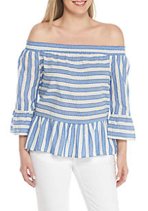 Petite Off-Shoulder Double Stripe Blouse