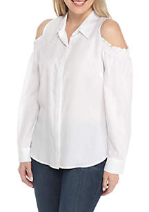 Petite Size Cold Shoulder Button-Up Blouse