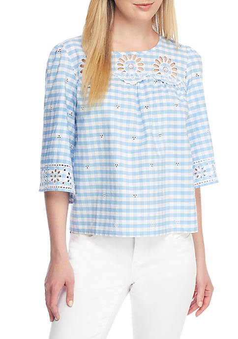 Crown & Ivy™ Petite Size Gingham Schiffli Top