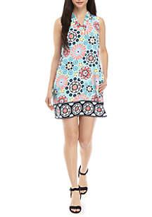 Petite Size Ruffle Neck Signature Dress