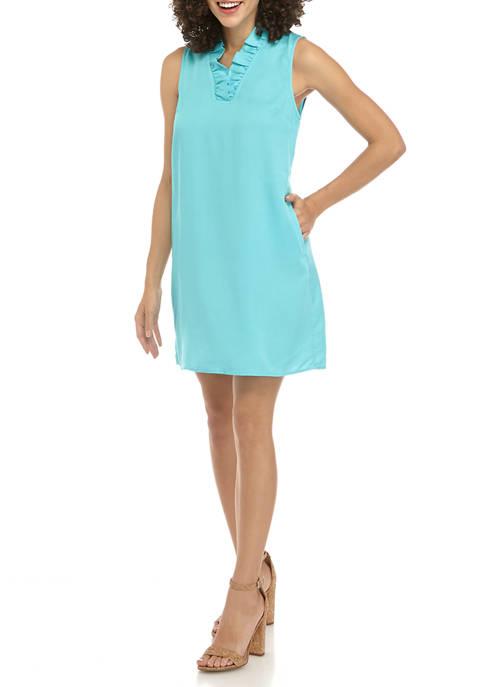 Crown & Ivy™ Petite Ruffle Neck Shift Dress
