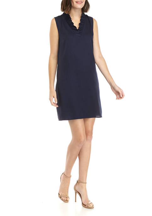 Crown & Ivy™ Petite Ruffle Neck Shift Dress
