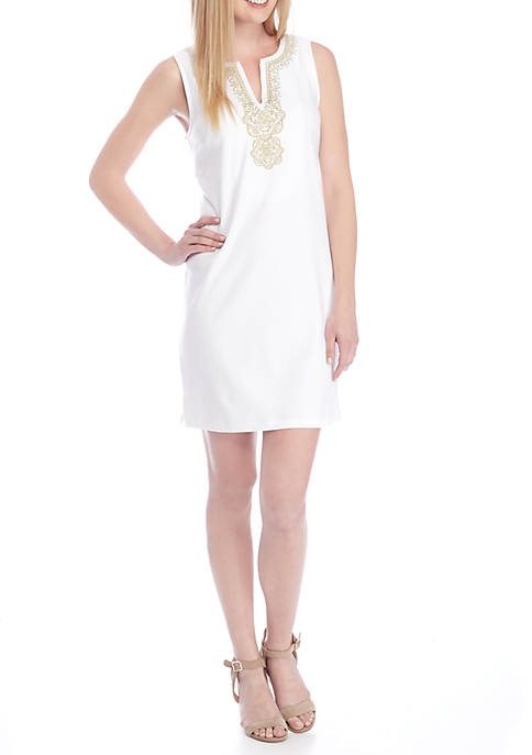 Crown & Ivy™ Petite Sleeveless Embroidered Neck Dress