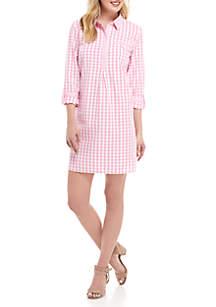 Petite 3/4 Sleeve Gingham Dress